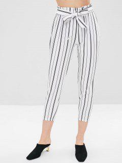 Pantalones Capri Con Cinturón A Rayas - Blanco L