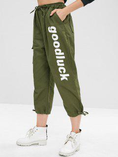 Good Luck Drawstring Pocket Pants - Army Green L
