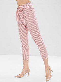 Pantalon Capri Rayé Ceinturé - Rouge L