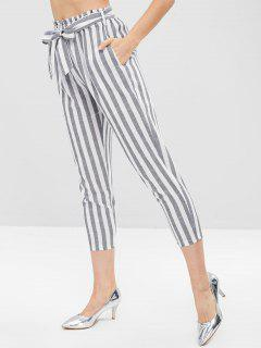 Pantalones Capri Con Cinturón A Rayas - Gris Claro S