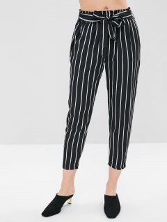 Stripe Belted Capri Pants - Multi-a M