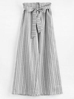 Ninth Wide Leg Stripes Pants - Light Gray L