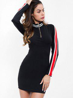 Half Zip Striped Bodycon Dress - Black S
