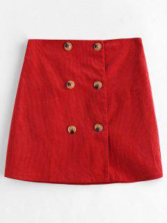 Double Breasted Corduroy Skirt - Cherry Red L