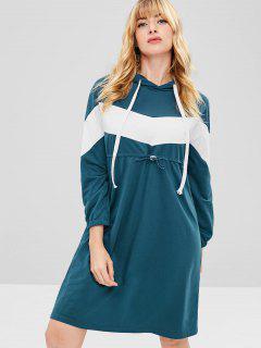 Vestido De Sudadera Con Capucha De Color Bloque - Pavo Real Azul M