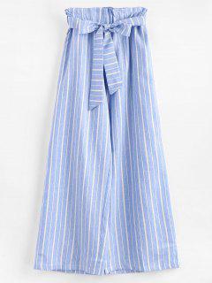 Ninth Wide Leg Stripes Pants - Light Blue L