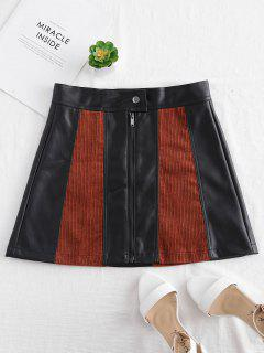 Faux Leather Corduroy Mini Skirt - Multi M