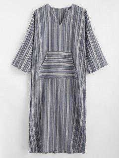 Maxi Slit Robe à Rayures Avec Poche - Multi L