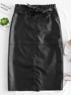 Midi Faux Leather Skirt - Black M