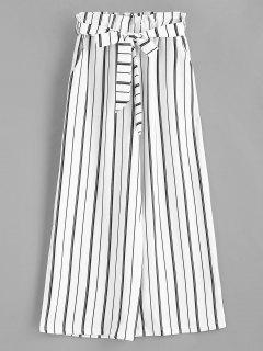 Wide Leg Belted Striped Pants - White M