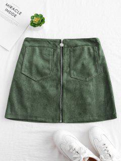 Zip Through Faux Suede Mini Skirt - Hazel Green M