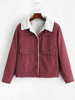 Button Front Sheepskin Coat - Burnt Pink L