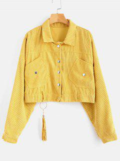 Cropped Snap Button Corduroy Jacket - Bright Yellow