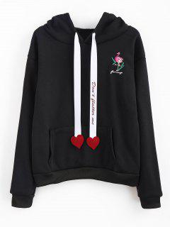 Flamingo Embroidered Fleece Lining Hoodie - Black S