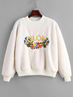 Floral Letter Embroidered Fluffy Sweatshirt - White S