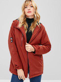 Letter Applique Hooded Longline Coat - Red Wine Xl