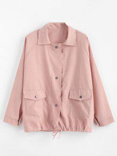 Taille Tunnelzug Snap Button Jacke - Pink Xl