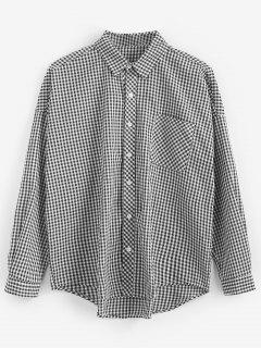 Chemise à Carreaux à Ourlet Haut Bas - Noir L