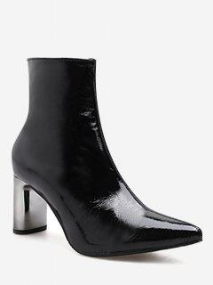 Pointed Toe Plated Chunky Heel Boots - Black Eu 36