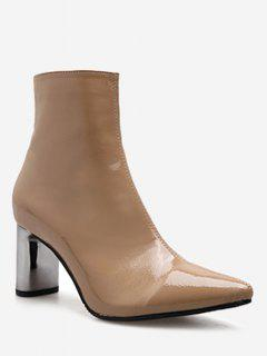 Pointed Toe Plated Chunky Heel Boots - Dark Khaki Eu 38