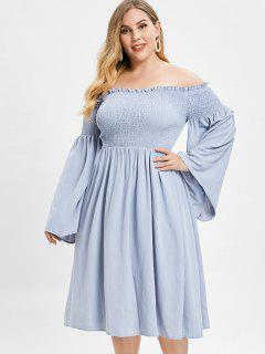 ZAFUL Smocked Plus Size Flare Sleeve Dress - Blue Gray 1x