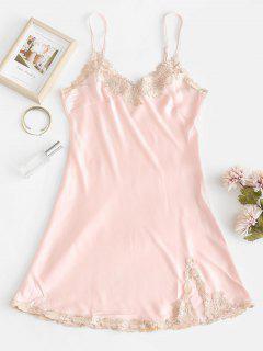 Robe Pyjama à Bretelle Floral Applique  - Rose Léger M