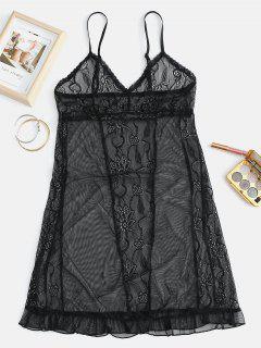 Lace Sheer Cami Dessous Kleid - Schwarz L