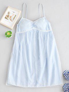 Vestido De Pijama Con Aplicación De Encaje De Camuflaje De Tul - Azul Pálido L