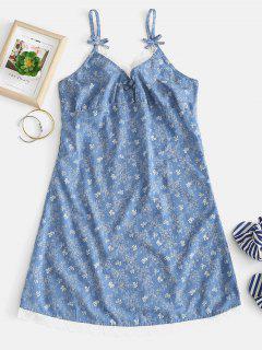 Blumiges Bowknot Print Cami Pyjama Kleid - Denim Blau L