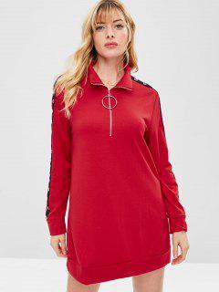 ZAFUL Half Zip Grommet Sweatshirt Dress - Red M
