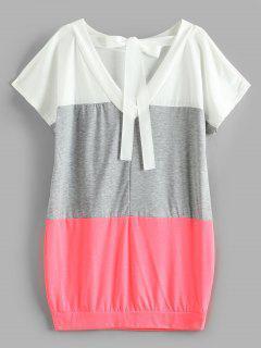 V Zurück Ribbon Color Block Kleid - Wassermelonen Rosa S