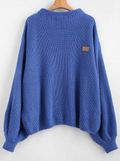 ZAFUL Oversized Chevron Patches Pullover Sweater - Silk Blue