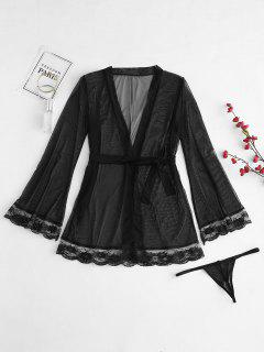 Lace Insert Sheer Belted Robe - Black 2xl