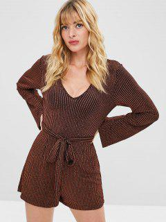 ZAFUL Metallic Belted Striped Romper - Multi M