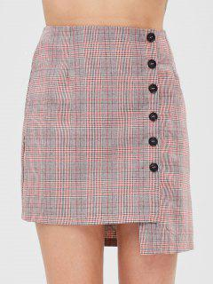 ZAFUL Button Fly Asymmetric Plaid Skirt - Multi Xl