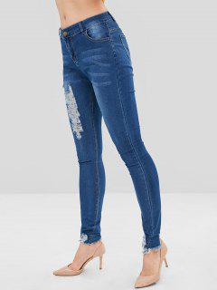 Skinny Ripped Jeans - Blue S