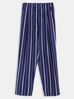 Stripes Pockets Straight Pants - Deep Blue L