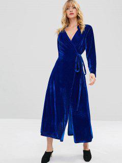 Vestido Largo Abrigo De Terciopelo - Azul Cobalto L