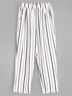 Stripes Pockets Straight Pants - White M
