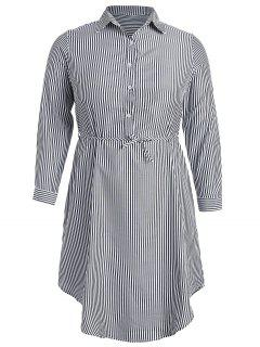 Half-button Striped Shirt Dress - Multi Xl