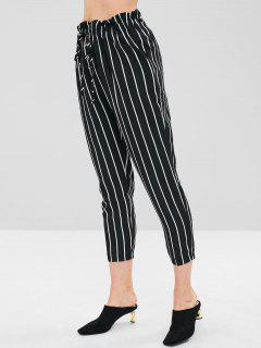 Stripe Self Tie Capri Pants - Black S
