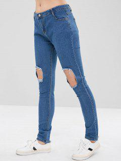 Cut Out Distressed Skinny Jeans - Denim Blue S