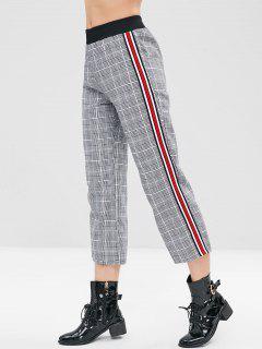 Stripe Trim Checked Pants - Multi-a S