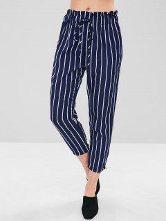 Stripe Self Tie Capri Pants - Midnight Blue M