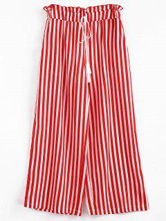 Pantalon Rayé à Jambe Large Avec Franges - Rouge Lave S