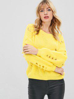 Suéter Adornado De La Perla De Faux Rasgada - Amarillo