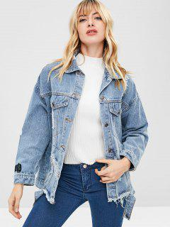 Abrigo Denim Ripped Boyfriend - Azul Denim S
