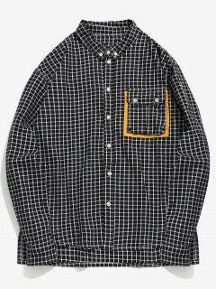 Pocket Button Down Checked Shirt - Black Xl