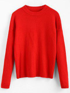 Crew Neck Sweater With Drop Shoulder - Red