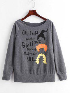 Marled Raglan Sleeve Graphic Sweatshirt - Dark Gray S